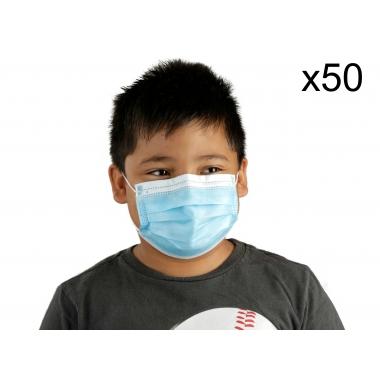 Детские голубые медицинские маски, 50 шт