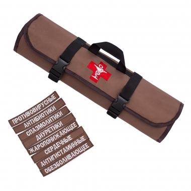 Аптечка органайзер Medic Roll Brown дорожная / для дома / автомобильная